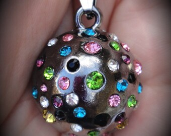 GunMetal Round Pendant With Multi Crystals