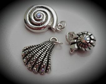 Genuine Silver Plated Swarovski Crystal Charms SeaShells