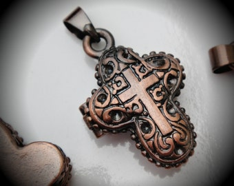 Magnetic Cross Design Prayer Box Locket in Copper Three Dimensional Pendant Charm