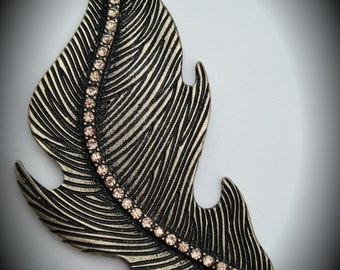 Brass Marcasite Feather Pendant/Connector With Crystals