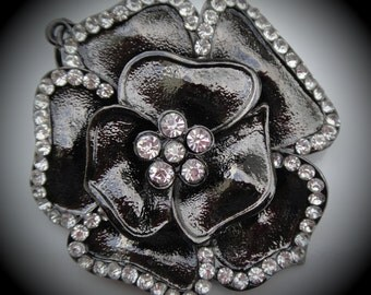 Large Gunmetal Rose Pendant With Clear Crystals
