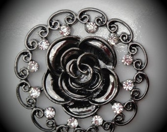 Gunmetal Rose Pendant With Clear Crystals