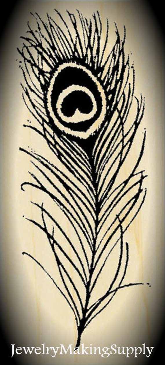 Wood Mounted Rubber Stamp Peacock Feather