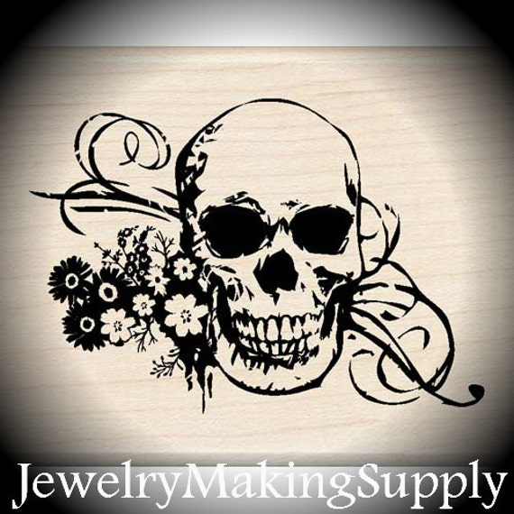 Wood Mounted Rubber Stamp Skull with Flourish