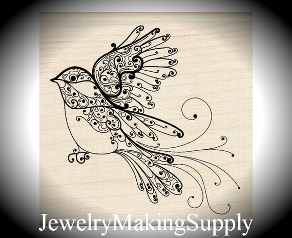 Wood Mounted Rubber Stamp Bird In Flight