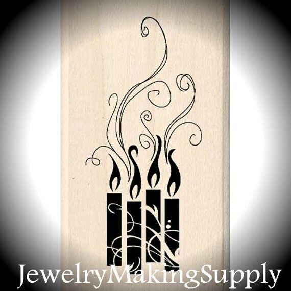Wood Mounted Rubber Stamp Flourished Candle Cluster