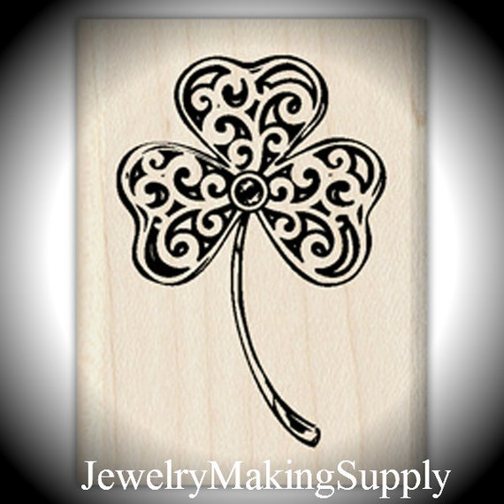 Wood Mounted Rubber Stamp Heart Clover