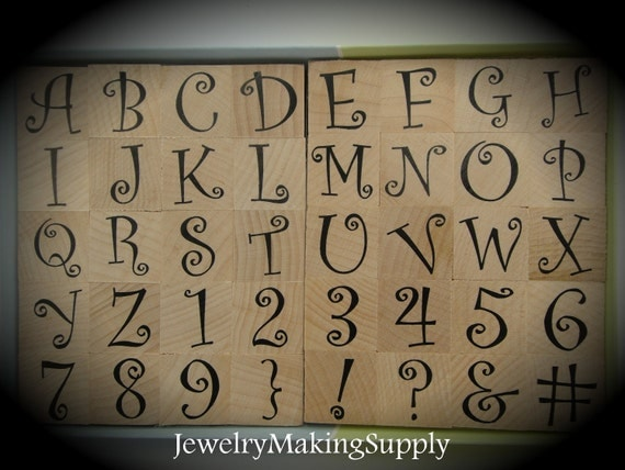 Wood Mounted Rubber Stamps Curly Q Alphabet