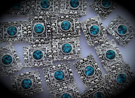 Genuine Silver Plated Swarovski Crystal 2 Hole Sliders B100