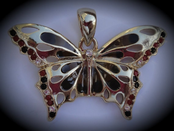 Genuine Gold Plated Swarovski Crystal Brown Butterfly Pendant