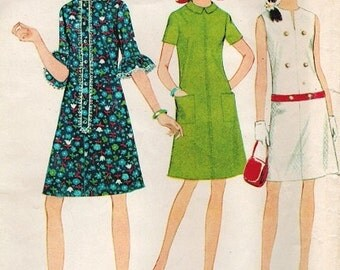 McCall's 8727 Vintage 60s French Dart DRESS in 3 Versions Sewing Pattern Bust 34