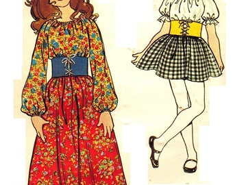 Butterick 6003 Vintage 70s UNCUT Little Miss Sunshine Dress - Laced Belt, Puff Sleeves - Long or Short Length Sewing Pattern Size 6 B 25