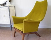 Mid Century Modern Lounge Chair in Mustard Yellow - Chartreuse