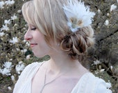 Something Old Bridal Feather Clip - Ivory, Copper and Blush Pink Made to Order