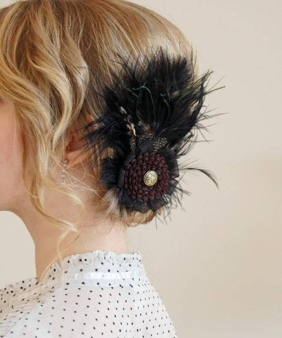 Ostrich feather hair clip brooch- Black Brown and Gold