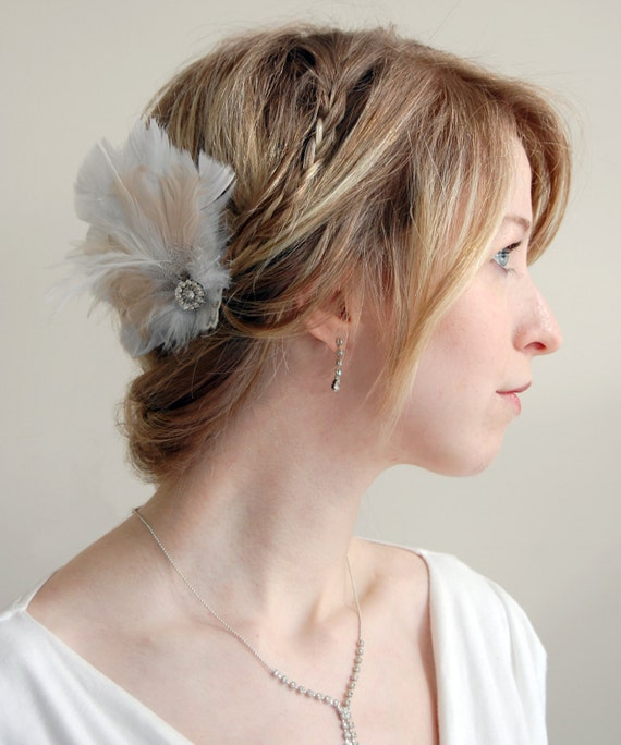 Vintage Jewel Feather Hair Clip- Dreamy White and Sparkle
