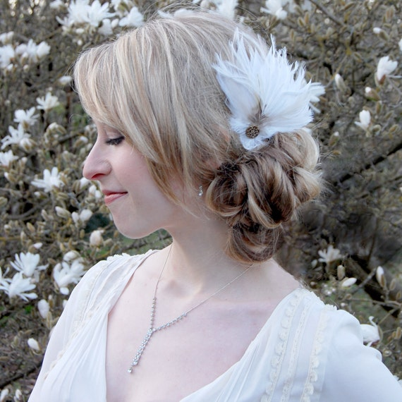 Vintage Inspired Bridal Feather Hair Clip - White and Copper/Bronze RESERVED