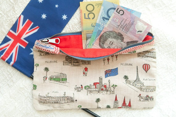 zip purse with melbourne icons.