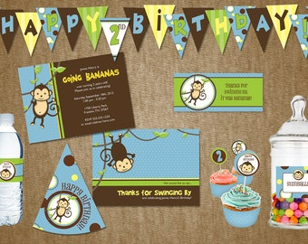 DIY Monkey Birthday Party Pack - Pink or Blue