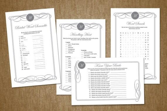 Bridal Shower Game Pack - Printable - You Choose 4 Games - Monogram - Custom Colors