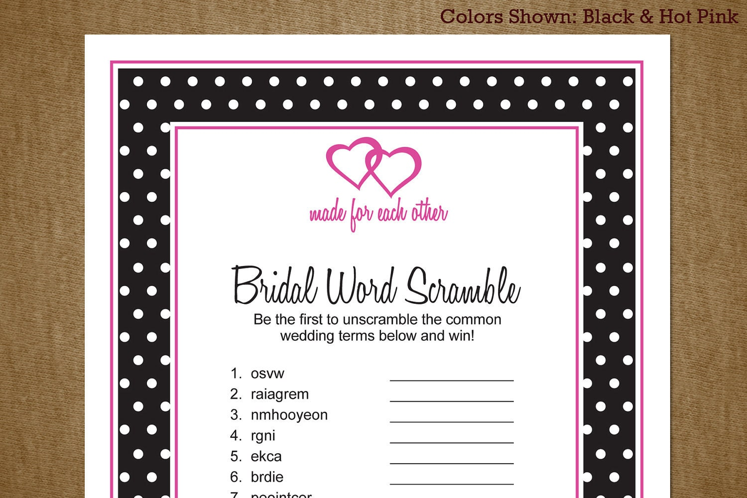 Bridal Shower Printable Game: Word Scramble by jackaroodesigningco