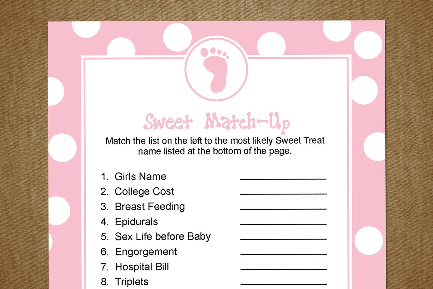Baby Shower Game: Sweet Match-Up Pink Blue by jackaroodesigningco