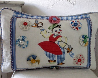 1930s Nursery Rhyme Pillow Candlestick Maker Pillow Shabby Chic