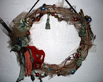 Old World Wreath French Chic Charm OOAK Vintage Antique Red and Blue