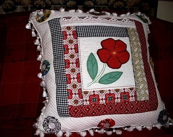 French Cottage Chic Pillow OOAK Quilted Bright Vintage