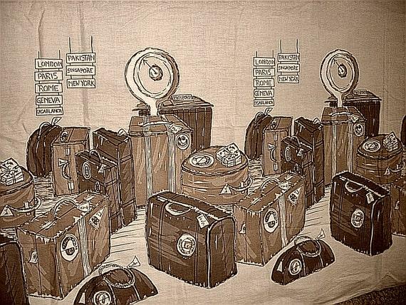 Antique Brown Wall Cloth Fabric Textile Luggage Scene London Paris Rome Casablanca New York