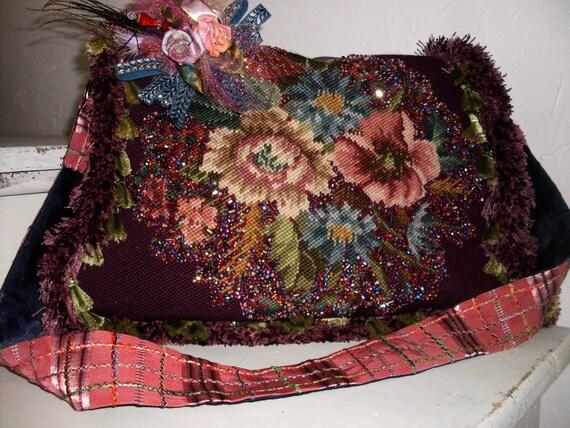 Ooak Stunning Vintage Purple and Pink Victorian Steampunk Beaded Needlepoint Shoulder Purse/Journey Bag