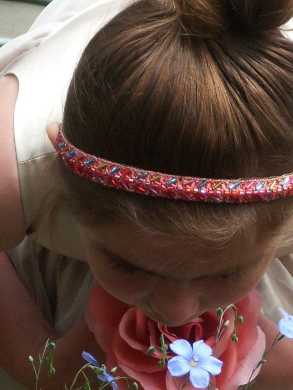 Beaded Pink Satin Headband Bridal Bridesmaid Flowergirl Elegant Vintage Repurposed