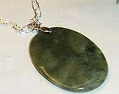 Oval Jade Green Stone Pendant on Silver Chain