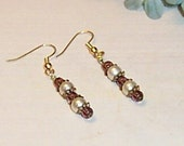 Antique Gold Beaded Plum and Pearl Earrings