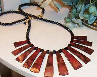 Burgundy Fan Necklace with Black Accent Beads