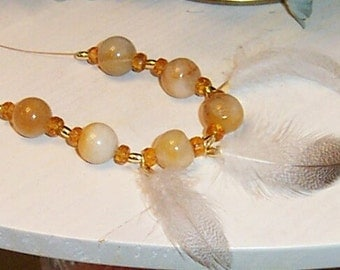 Golden Quartzite Beaded Necklace with Feathers and Earrings