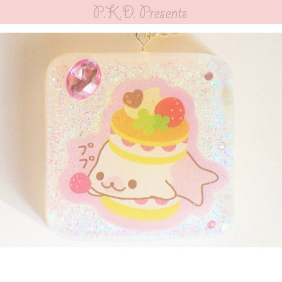 Kawaii Resin Pendant Necklace - Mamegoma - Pink & White