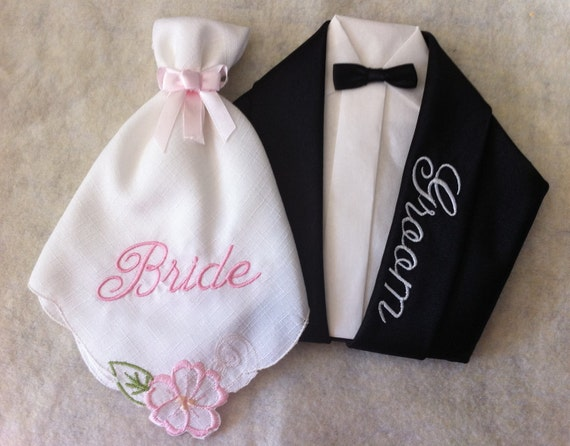 bride and groom napkins