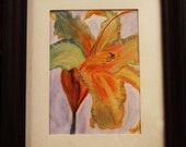 "SAVED FOR PAT   Garden Iris Original Watercolor Painting. (8"" x 10"" framed)"