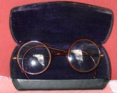 1920's Child's Eyeglasses, Case and Lint Cloth - Back of Case name Dr. William Ray Deemer
