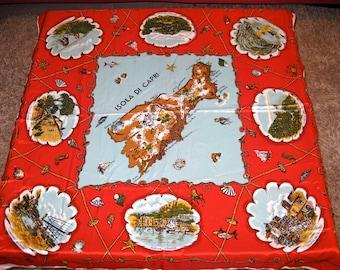 "Vintage 30""x""30 Isola Di Capri Souvenir Scarf Made of 100% Acetate"