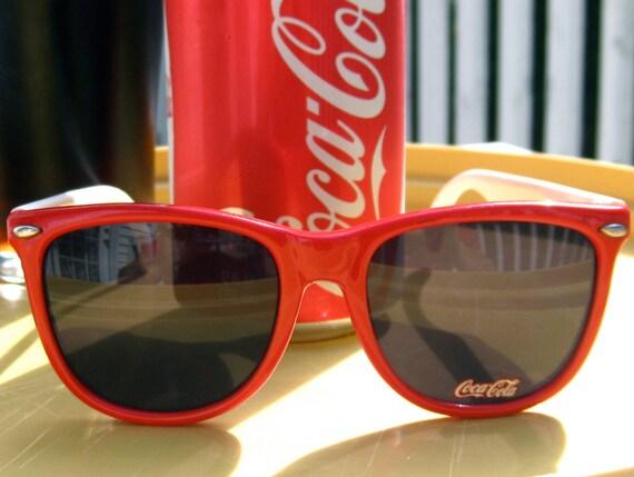 Vintage  CocaCola Two tone 1980's Sunglasses & Soft Black Case