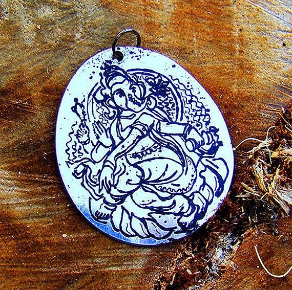 Ganesh Etched Pendant Necklace (Indian God)