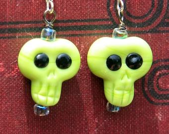 Handmade green Lampwork Skull earrings