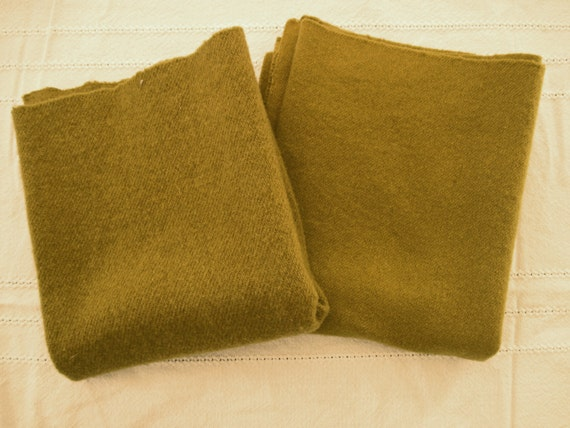Hand Dyed  Rug Hooking Wool -2  Olive Green Fat Quarters