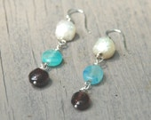 Summer Earrings - Natural Pearls,Garnet and  Turquoise Blue Amazonite Drop Earrings