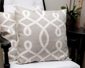 Loops (Smoke) 18x18 inch Pillow Covers (set of 2) Throw pillows, Pillow Case, Home Decor, Designer, Tan, Scroll Pillows