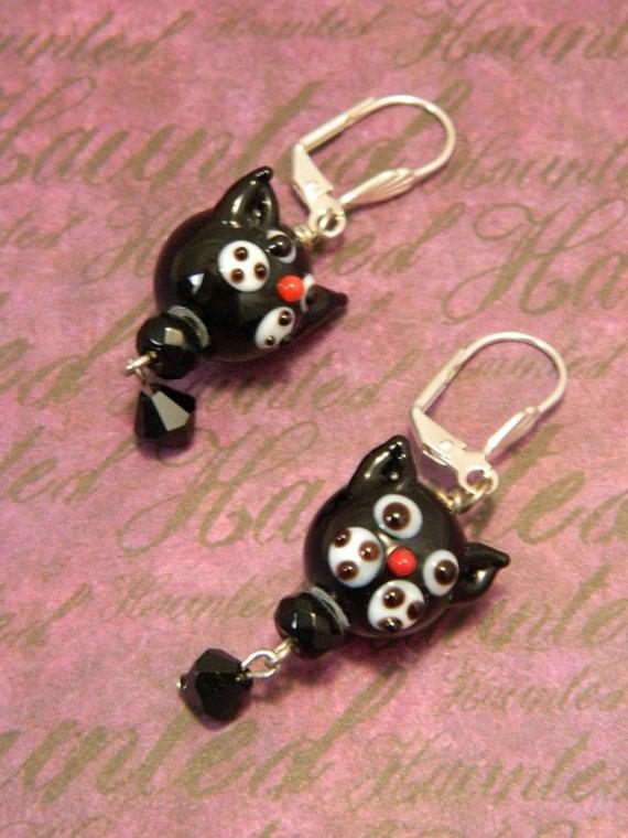 Black Cats - Halloween Samhain Earrings by Christina Davis
