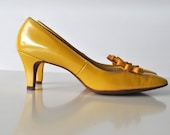 Reserved for Karen - Bright yellow vintage heels mustard color patent leather