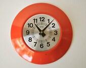 Tangerine round wall clock